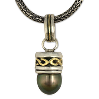 One of a Kind Rope Black Pearl Pendant in 14K Yellow Gold Design w Sterling Silver Base
