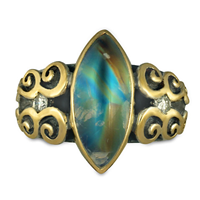 One of a Kind Moonstone Cascade Ring in 14K Yellow Gold Design w Sterling Silver Base