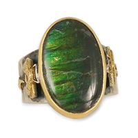 One of a Kind Ammolite Bee Ring in 18K Yellow Gold Design w Sterling Silver Base