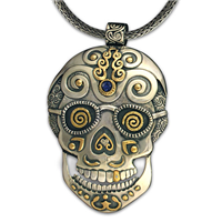 One of a Kind Timothy Skull Pendant in 14K Yellow Design/Sterling Base