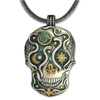 One of a Kind Oberon Skull Pendant in 14K Yellow Gold Design w Sterling Silver Base