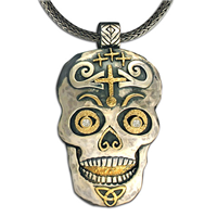 One of a Kind Fergus Skull Pendant in 14K Yellow Gold Design w Sterling Silver Base