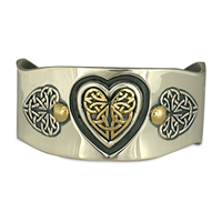Heart Cuff Bracelet in 14K Yellow Gold Design w Sterling Silver Base