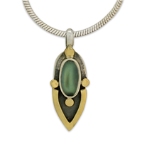 One of a Kind Tasha Blue Moonstone Pendant in 14K Yellow Gold Design w Sterling Silver Base