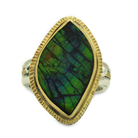 One of a Kind Ammolite Halo Ring in 18K Yellow Gold Design w Sterling Silver Base