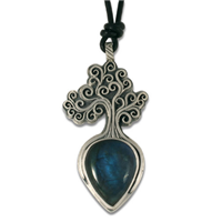 One of a Kind Tree of Life Labradorite Pendant in Sterling Silver