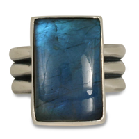 One of a Kind Labradorite Three Bar Ring in Sterling Silver