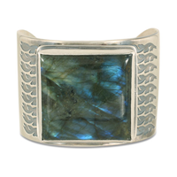 One of a Kind Labradorite Terra Cuff in Sterling Silver