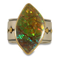 One of a Kind Ravena Ammolite Ring in 14K Yellow Gold & 24K Yellow Gold & Sterling Silver