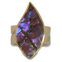 One of a Kind Ammolite River Ring in 18K & 24K Yellow Gold with Sterling Silver