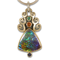 One of a Kind Ammolite Cascade Pendant in 14K Yellow Gold & 24K Yellow Gold & Sterling Silver