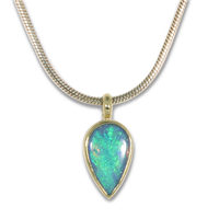 One of a Kind Australian Opal Pendant in 14K Yellow Gold Design w Sterling Silver Base