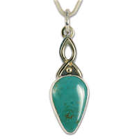 One of a Kind Crowsprings Turquoise Pendant in 14K Yellow Gold Design w Sterling Silver Base