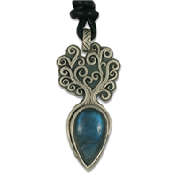 One of a Kind Tree of Life Small Pendant with Labradorite in Sterling Silver