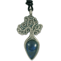 One of a Kind Tree of Life Medium Pendant with Labradorite in Sterling Silver