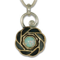 One of a Kind Quin Opal Pendant in 14K Yellow Gold Design w Sterling Silver Base