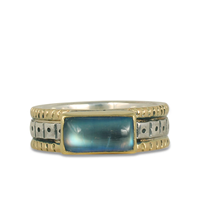 One of a Kind Wide Solaris Moonstone Ring in 14K Yellow Gold Design w Sterling Silver Base