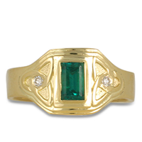 One of a Kind Aria Emerald Ring in 18K Yellow Gold