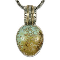 One of a Kind Turtle with Roystan Natural Turquoise Pendant in 14K Yellow Gold Design w Sterling Silver Base