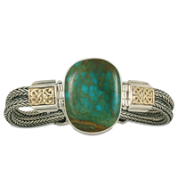 One of a Kind Turquoise Renee Bracelet in 14K Yellow Gold Design w Sterling Silver Base