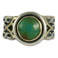 One of a Kind Maya Turquoise Ring in 14K Yellow Gold Design w Sterling Silver Base