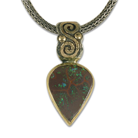One of a Kind Boulder Opal Infinity Pendant in 14K Yellow Gold Design w Sterling Silver Base