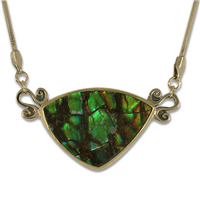 One of a Kind Ammolite Necklace in 14K Yellow Gold Design w Sterling Silver Base