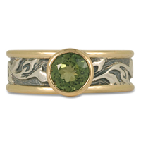 One of a Kind Flores Ring with Green Tourmaline in Sterling Silver Center & Base w 14K Yellow Gold Borders