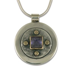 One of a Kind Iolite Shield in 14K Yellow Gold Design w Sterling Silver Base