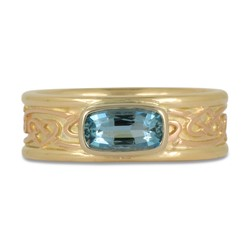 One of a Kind Weaving Heart Ring with Aquamarine in 14K Yellow Gold Base w 14K Rose Gold Center