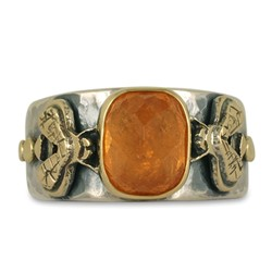 One of a Kind Bee Ring with Spessartite in 18K Yellow Gold Design w Sterling Silver Base