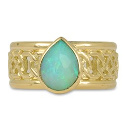 One of a Kind Shannon Window Ring with Ethiopian Opal in 18K Yellow Gold