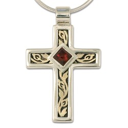 One of a Kind Flores Cross Pendant in 14K Yellow Gold Design w Sterling Silver Base