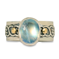 One of a Kind Moonstone Heartly Ring in 14K Yellow Gold Design w Sterling Silver Base