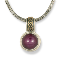 One of a Kind Star Sapphire Petra Pendant in 14K Yellow Gold Design w Sterling Silver Base