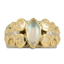 One of a Kind Cascade Ring in 14K Yellow Gold Center w 14K White Gold Base