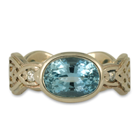 One of a Kind Flow Ring with Aquamarine in 14K White Gold