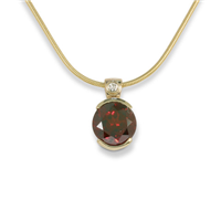 One of a Kind Portugese Cut Garnet Pendant in 14K Yellow Gold