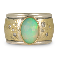 One of a Kind Wistra Ring with Opal in 18K Yellow Gold Design w Sterling Silver Base