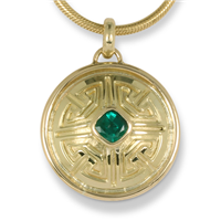One of a Kind Key Pendant with Natural Zambian Emerald in 18K Yellow Gold