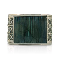 One of a Kind Labradorite Cuff Bracelet  in Sterling Silver