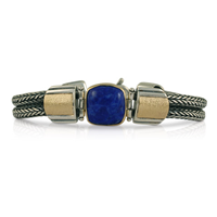One of a Kind Lapis Wistra Bracelet in 14K Yellow Gold Design w Sterling Silver Base