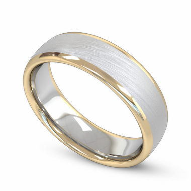 Fairtrade Gold White and Yellow Two Color Men s Wedding Ring in 18K White Fairtrade Gold and Yellow Fairtrade Gold