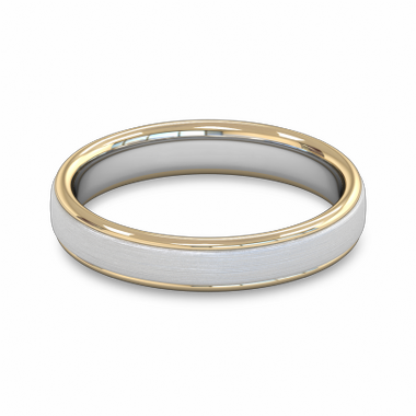 Fairtrade Gold Two Tone Court Men s Wedding Ring in 18K Yellow Gold Borders w 18K White Gold Center