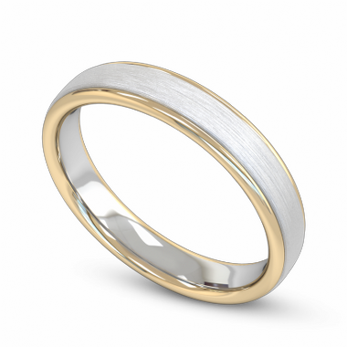 Fairtrade Gold Two Tone Court Men s Wedding Ring in 18K White Fairtrade Gold and Yellow Fairtrade Gold