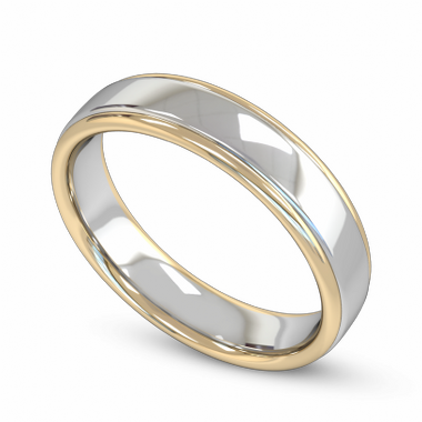 Fairtrade Gold Two Color Classic Wedding Ring in 18K White Fairtrade Gold and Yellow Fairtrade Gold