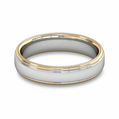Fairtrade Gold Two Color Classic Wedding Ring in 18K Yellow Gold Borders w 18K White Gold Center