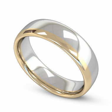 Fairtrade Gold Yellow and White Two Tone Men s Wedding Ring in 18K White Fairtrade Gold and Yellow Fairtrade Gold