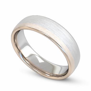 Classic Fairtrade Gold Two Tone Men s Wedding Ring in 18K White Fairtrade Gold and Rose Fairtrade Gold