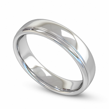 Fairtrade Gold Grooved Court Men s Wedding Ring in 18K White Fairtrade Gold